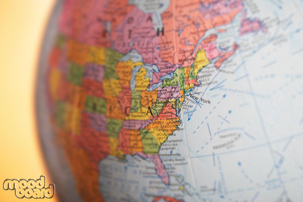 Political globe close-up of United States of America