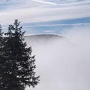 Fog hanging above Lake de Guéry, PNR Volcans d'Auvergne, France