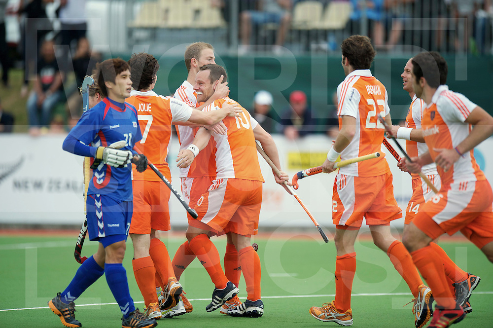 AUCKLAND - Champions Trophy men.Netherlands v Korea.foto: Penaltycorner Taeke Taekema 1-0 wordt gevierd..FFU Press Agency  COPYRIGHT FRANK UIJLENBROEK..