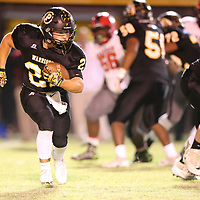 Pontotoc's Gabe Harmon put the Warriors up 7-0 over Shannon and was the only Warrior to find the endzone in the first half Thursday night against Shannon.