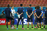 Italy manager Cesare Prandelli (in white) talks to his team during the Italy open training session at Arena da Amazonia, Manaus, Brazil<br /> Picture by Andrew Tobin/Focus Images Ltd +44 7710 761829<br /> 13/06/2014