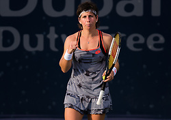 February 18, 2019 - Dubai, ARAB EMIRATES - Carla Suarez Navarro of Spain in action during her first-round match at the 2019 Dubai Duty Free Tennis Championships WTA Premier 5 tennis tournament (Credit Image: © AFP7 via ZUMA Wire)