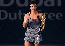February 18, 2019 - Dubai, ARAB EMIRATES - Carla Suarez Navarro of Spain in action during her first-round match at the 2019 Dubai Duty Free Tennis Championships WTA Premier 5 tennis tournament (Credit Image: © AFP7 via ZUMA Wire)
