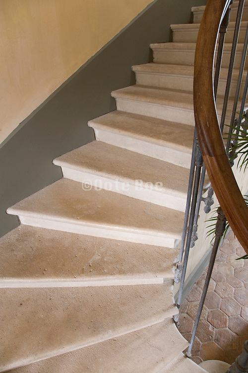 close up of an old stone stair in a grand mansion