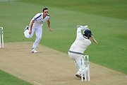 Kyle Abbott of Hampshire bowling to Stephen Eskinazi of Middlesex during the Specsavers County Champ Div 1 match between Hampshire County Cricket Club and Middlesex County Cricket Club at the Ageas Bowl, Southampton, United Kingdom on 14 April 2017. Photo by David Vokes.