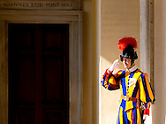 Vatican, 09-03-2015<br /> <br /> <br /> Swiss guard at the Cortile San Damaso<br /> <br /> Photo: Bernard Ruebsamen/Royalportraits Europe