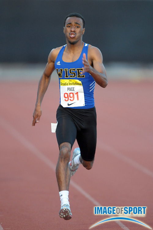 Apr 7, 2012; Arcadia, CA, USA; Champ Page of Wise wins the 400m in 47.31 in the Arcadia Invitational at Arcadia High.