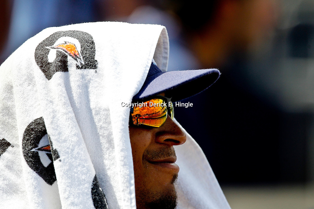 March 21, 2012; Port Charlotte, FL, USA; Tampa Bay Rays outfielder Desmond Jennings wears a towel over his head in the dugout during  a spring training game against the New York Yankees at Charlotte Sports Park.  Mandatory Credit: Derick E. Hingle-US PRESSWIRE