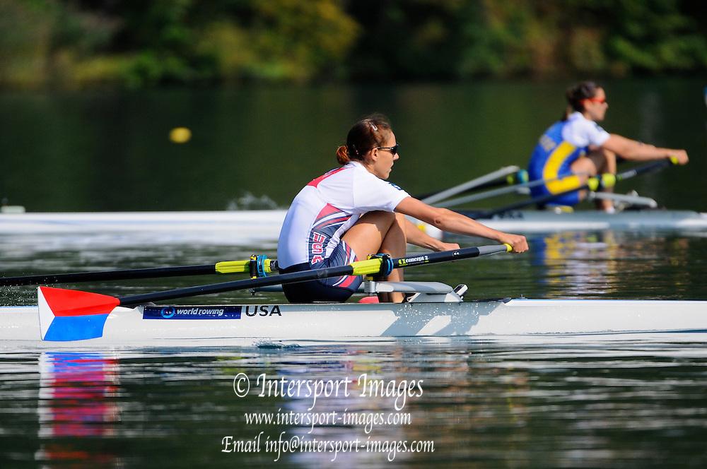 Bled, SLOVENIA. USA LW1X, Ursula GROBLER, Winner SemiFinal A/B 2, 2011 FISA World Rowing Championships, Lake Bled. Thursday  01/09/2011   [Mandatory Credit; Intersport Images]