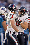 NASHVILLE, TN - OCTOBER 29:  Owen Daniels #81 and Mark Bruener #87 of the Houston Texans celebrate after a Daniels touchdown against the Tennessee Titans at LP Field on October 29, 2006 in Nashville, Tennessee. The Titans defeated the Texans 28 to 22. (Photo by Wesley Hitt/Getty Images)***Local Caption***Owen Daniels, Mark Bruener