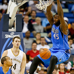 Dec 4, 2013; New Orleans, LA, USA; Dallas Mavericks center DeJuan Blair (45) dunks against the New Orleans Pelicans during the second quarter of a game at New Orleans Arena. Mandatory Credit: Derick E. Hingle-USA TODAY Sports
