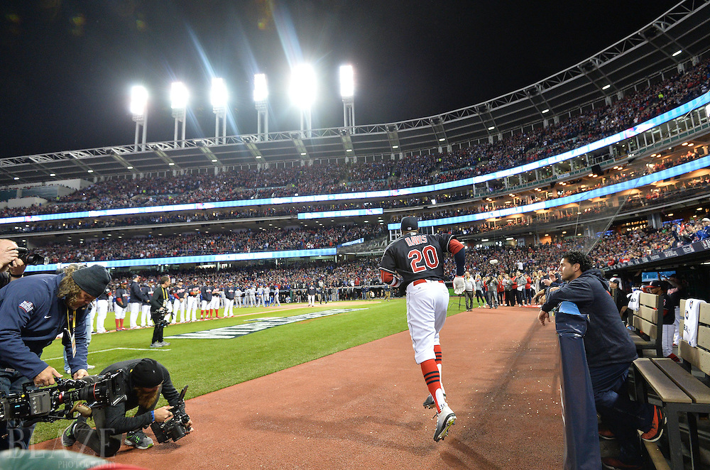 Oct 25, 2016; Cleveland, OH, USA; Cleveland Indians center fielder Rajai Davis (20) is introduced before game one of the 2016 World Series against the Chicago Cubs at Progressive Field. Mandatory Credit: Ken Blaze-USA TODAY Sports