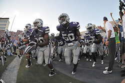 Oct 07, 2010; Manhattan, KS, USA; The Kansas State Wildcats run onto the field before the game against the Nebraska Cornhuskers at Bill Snyder Family Stadium. Nebraska won 48-13. Mandatory Credit: Denny Medley-US PRESSWIRE