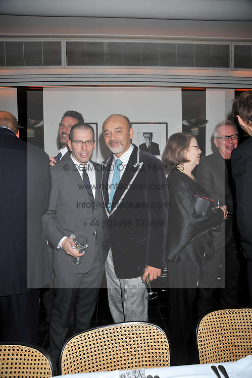 JONATHAN NEWHOUSE and CHRISTIAN LOUBOUTIN at a dinner hosted by Alexandra Shulman editor of British Vogue in association with Net-A-Porter.com to celebrate 25 years of London Fashion Week and Nick Knight held at Le Caprice, Arlington Street, London on 21st September 2009.