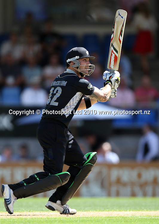 Brendon McCullum batting during his innings of 61.<br />4th one day international. New Zealand Black Caps versus Australia one day match.<br />Chappell Hadlee cricket series. Eden Park, Auckland, New Zealand. Thursday 11 March 2010. Photo: Andrew Cornaga/PHOTOSPORT