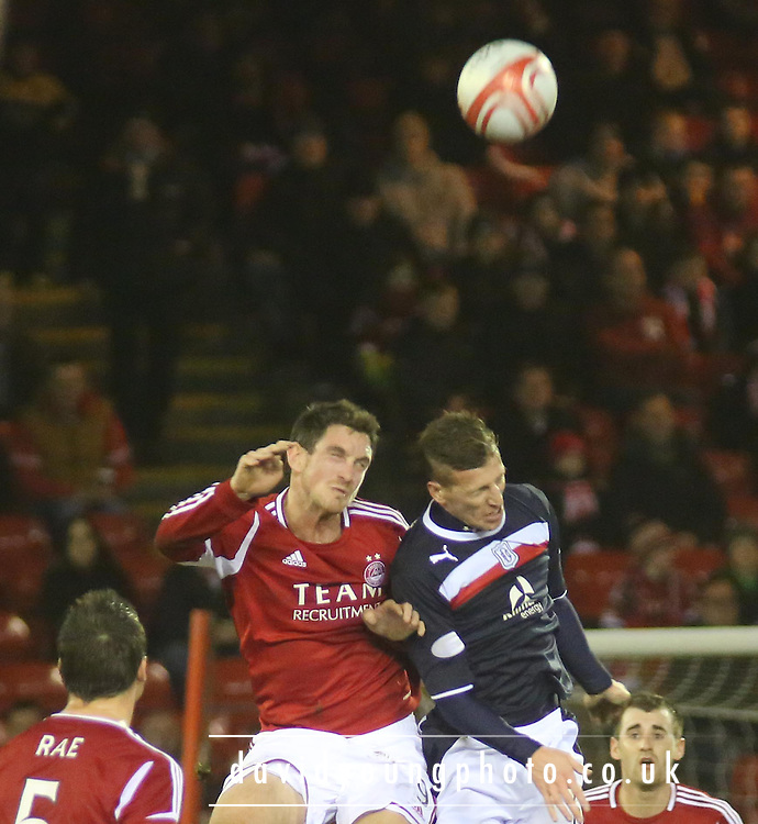Aberdeen's Scott Vernon and Dundee's Iain Davidson - Aberdeen v Dundee, Clydesdale Bank Scottish Premier League at Pittodrie .. - © David Young - www.davidyoungphoto.co.uk - email: davidyoungphoto@gmail.com