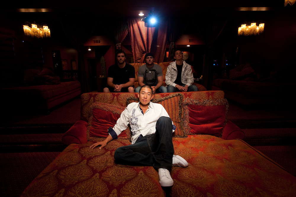 Anthony Kim, photographed at home in Dallas, TX  on Friday, March 19, 2010. Back Row L-R: Steven Ferguson, Brodie Flanders, Ryan Today. Photograph © 2010 Darren Carroll.