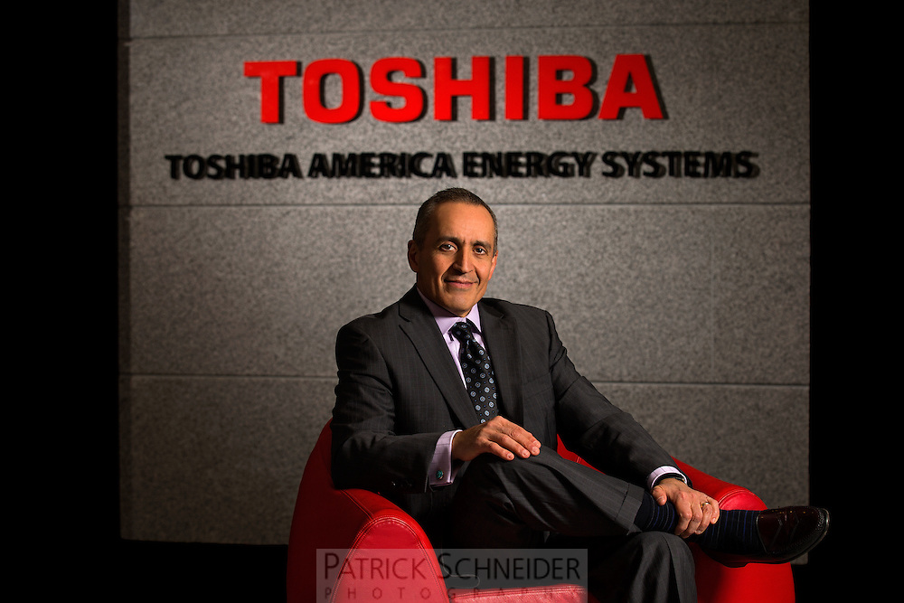 On-location Executive Portrait of Ali Azad, President and CEO of Toshiba America Energy Systems Corporation, at the Charlotte, North Carolina offices.<br /> <br /> Charlotte Photographer -PatrickSchneiderPhoto.com