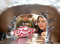 23/01/2014 Aaron Benn  with Crystal Flash who had cut ears  in the MRI Scanner and Medical Student Katie Lynam from Westmeath at Teddy Bear Hospital at NUI, Galway where Medical Students got used to dealing with Children and Kids get used to the Hospital procedures. Photo:Andrew Downes.