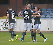 Gary Harkins congratulates Simon Ferry after his opener - Dundee v Peterhead, League Cup at Dens Park<br /> <br />  - &copy; David Young - www.davidyoungphoto.co.uk - email: davidyoungphoto@gmail.com