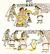 An illustration from Codex Mendoza depicting elderly Aztecs smoking and drinking pulque. The Codex Mendoza (an Aztec codex), created in 1553 after the Spanish conquest of Mexico