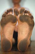 Dirty bare feet