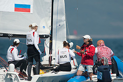 10.08.2012, Bucht von Weymouth, GBR, Olympia 2012, Segeln, im Bild Skudina Ekaterina, Oblova Elena, Syuzeva Elena, (RUS, Match Race) // during Sailing, at the 2012 Summer Olympics at Bay of Weymouth, United Kingdom on 2012/08/10. EXPA Pictures © 2012, PhotoCredit: EXPA/ Juerg Kaufmann ***** ATTENTION for AUT, CRO, GER, FIN, NOR, NED, .POL, SLO and SWE ONLY!