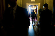 Senate Majority Leader Mitch McConnell, R-KY, into his office after outlining his legislative agenda for the 114th Congress, in Washington, D.C.