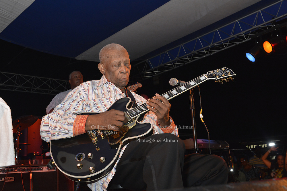 Indianola Mississippi May 25, 2014 Multi Grammy winner and legendary blues guitarist 88 yr. old B.B. King plays his last hometown crowd  outside his museum the  B.B. King Delta Interpretive Center and Museum. It was announced that this would be the last year Mr. King will perform for this annual homecoming event that he has performed for his hometown fans for over 40 years. Photo© Suzi Altman