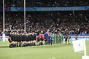 Team New Zealand and South Africa during national anthem during the Japan 2019 Rugby World Cup Pool B match between New Zealand and South Africa at the International Stadium Yokohama in Yokohama on September 21, 2019. Photo Kishimoto / ProSportsImages / DPPI