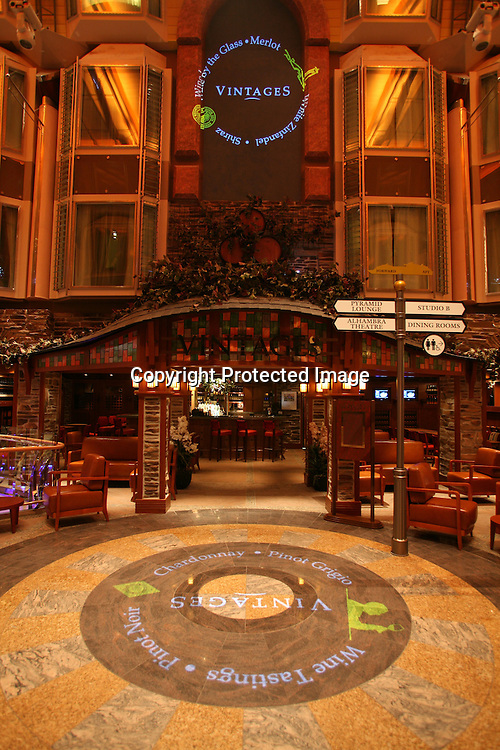 Royal Caribbean International's  Independence of the Seas, the world's largest cruise ship...Onboard feature pictures...Vintages wine bar.