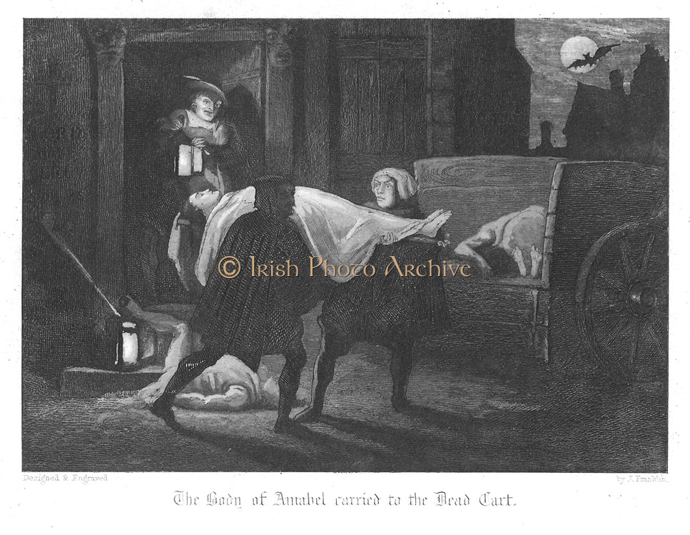 Amabel Bloundel's body being carried from the Earl of Rochester's house into the dead cart for burial in the plague pit. Plague of London (1665). Illustration by John Franklin (active 1800-1861) for William Harrison Ainsworth 'Old Saint Paul's', London 1855 (first published 1841). Engraving