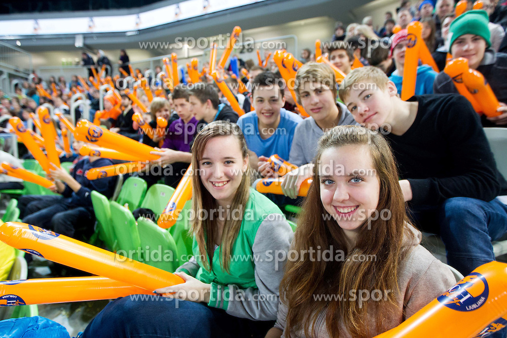 Fans during volleyball match between ACH Volley and Lube Banca Marche Macerata (ITA) in 5th Leg of Pool D of 2013 CEV Champions League on December 5, 2012 in Arena Stozice, Ljubljana, Slovenia. ACH defeated Macerata 3-1. (Photo By Vid Ponikvar / Sportida)