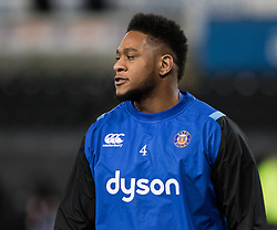 Bath Rugby's Levi Douglas during the pre match warm up<br /> <br /> Photographer Simon King/Replay Images<br /> <br /> Anglo-Welsh Cup Round 4 - Ospreys v Bath Rugby - Friday 2nd February 2018 - Liberty Stadium - Swansea<br /> <br /> World Copyright © Replay Images . All rights reserved. info@replayimages.co.uk - http://replayimages.co.uk
