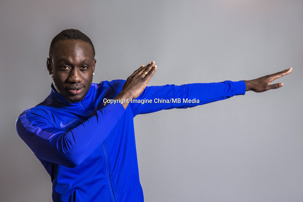 Portrait of Senegalese soccer player Mbaye Diagne of Tianjin TEDA F.C. for the 2017 Chinese Football Association Super League, in Tianjin, China, 25 February 2017.