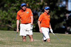 Dan Mullen and Judd Davisduring the Chick-fil-A Peach Bowl Challenge at the Oconee Golf Course at Reynolds Plantation, Sunday, May 1, 2018, in Greensboro, Georgia. (Paul Abell via Abell Images for Chick-fil-A Peach Bowl Challenge)