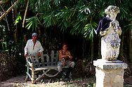 Workers and sculpture in Parque Nacional la Guira, Pinar del Rio Province, Cuba.
