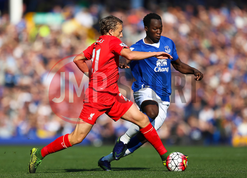 Lucas Leiva of Liverpool and Everton's Romelu Lukaku   - Mandatory byline: Matt McNulty/JMP - 07966 386802 - 04/10/2015 - FOOTBALL - Goodison Park - Liverpool, England - Everton  v Liverpool - Barclays Premier League