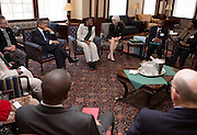 Members of the Ministry of Education Skills and Development, Botswana, hold a discussion with Ohio University representatives and deans in the Baker Center 1804 Lounge before a luncheon on January 21, 2014. The discussion and luncheon were hosted by the Ohio University Center for International Studies.