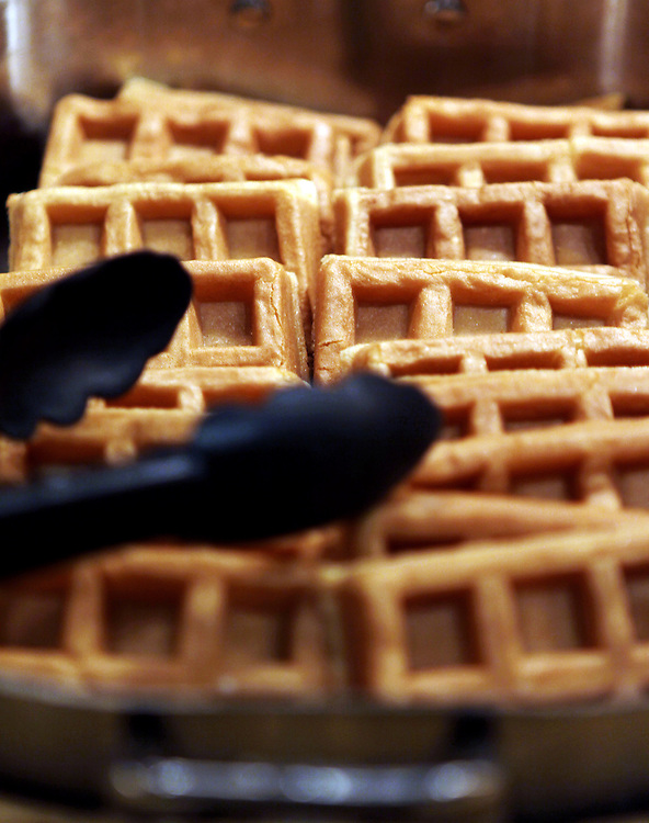 Freshly-made waffles in the breakfast bar at the Grand Buffet at Grand Casino Hinckley December 20, 2011.