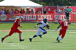 17 September 2016:  Dalton Keene and DraShane Glass zero in on Devin Church. NCAA FCS Football game between Eastern Illinois Panthers and Illinois State Redbirds for the 105th Mid-America Classic on Family Dat at Hancock Stadium in Normal IL (Photo by Alan Look)