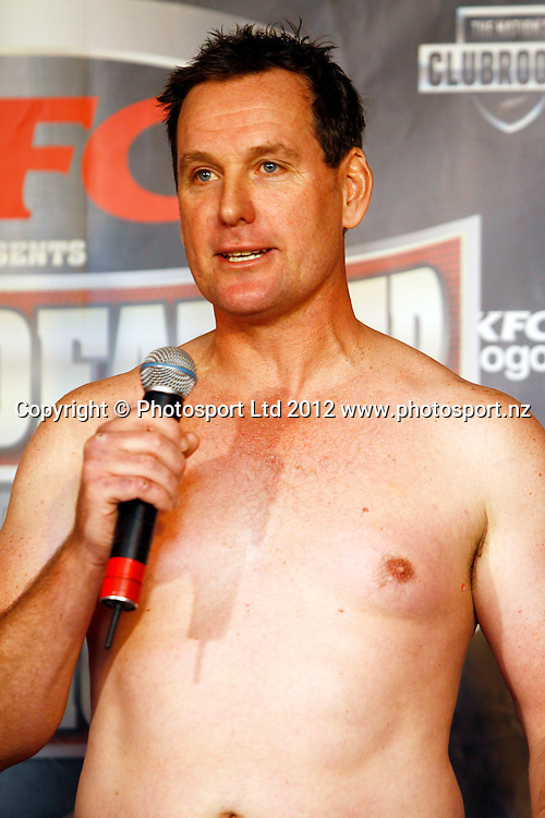Mark Watson, KFC Godfather of All Fight Nights Weigh In ahead of Thursdays fight night, The Nations Clubrooms bar, Sky City, Auckland. 4 July 2012. Photo: William Booth/photosport.co.nz