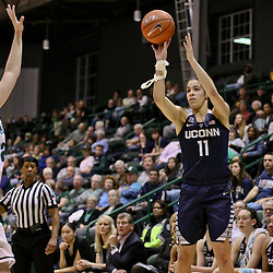 Feb 3, 2016; New Orleans, LA, USA; Connecticut Huskies guard Kia Nurse (11) shoots over Tulane Green Wave guard Meredith Schulte (22) during the second half of a game at the Devlin Fieldhouse. Connecticut defeated Tulane 96-38. Mandatory Credit: Derick E. Hingle-USA TODAY Sports