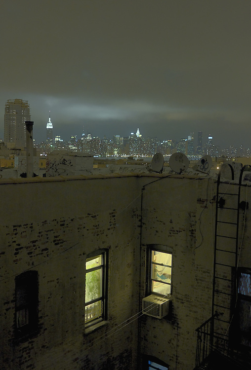 New York City skyline at night from Williamsburg rooftop