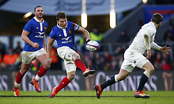 February 10, 2019 - London, England, United Kingdom - Antoine Dupont of France..during the Guiness 6 Nations Rugby match between England and France at Twickenham  Stadium on February 10th, 2019 in Twickenham, London,  England. (Credit Image: © Action Foto Sport/NurPhoto via ZUMA Press)