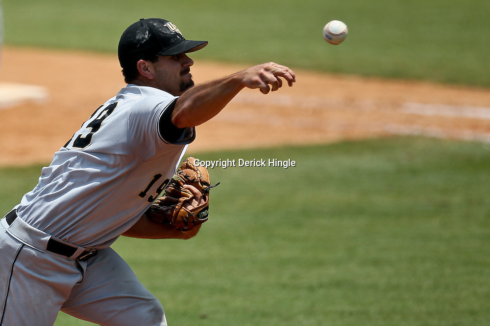 June 05, 2011; Tallahassee, FL, USA; UCF Knights pitcher Chase Bradford (19) throws against the Alabama Crimson Tide during the sixth inning of the Tallahassee regional of the 2011 NCAA baseball tournament at Dick Howser Stadium. Alabama defeated UCF 12-5. Mandatory Credit: Derick E. Hingle