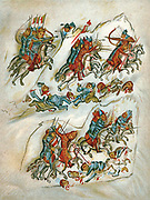 Russians routing Bulgarians in cavalry skirmish. Chromolithograph from 10th century Sclavonian manuscript in the Vatican Library