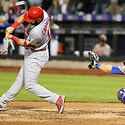 Matt Carpenter, St. Louis Cardinals, breaks his bat as he strikes the ball during the New York Mets Vs St. Louis Cardinals MLB regular season baseball game at Citi Field, Queens, New York. USA. 16th May 2015. Photo Tim Clayton
