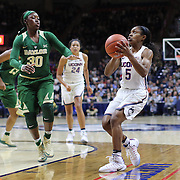 STORRS, CONNECTICUT- NOVEMBER 17: Crystal Dangerfield #5 of the UConn Huskies drives to the basket defended by Alexis Jones #30 of the Baylor Bears during the UConn Huskies Vs Baylor Bears NCAA Women's Basketball game at Gampel Pavilion, on November 17th, 2016 in Storrs, Connecticut. (Photo by Tim Clayton/Corbis via Getty Images)