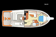 Vector rendering of the deck accommodation plan of the Cabo 44 yacht.